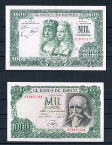 Spain - 2x 1,000 Pesetas year 1957/1971- Pick 149 and 154