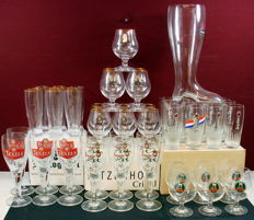 Collection of 16 original brewery beer glasses