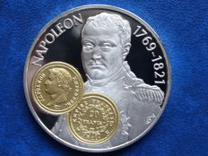 "Netherlands Antilles - 10 guilder Trade coin 2001 ""Golden 20 Franc - Napoleon"" - 925/1000 silver plus gold inlay"