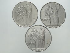 "Republic of Italy - 100 Lira coins from 1964, 1965 and 1966 ""Minerva"", (3 coins)"