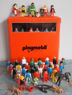 Vintage lot of 1970s Geobra Playmobil figures in the original Rare Playmobil B System suitcase
