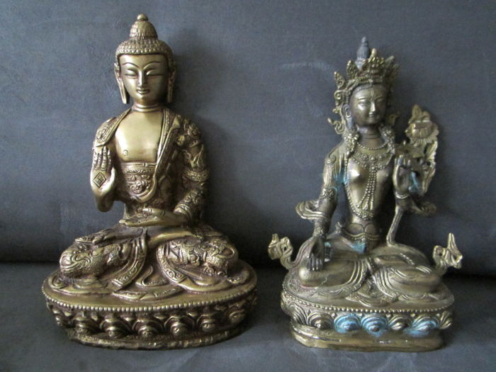 Two statues of Buddha and Tara - Tibet/Nepal - late 20th century