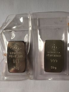 Silver bars Degussa 2 x 50 grams in seal
