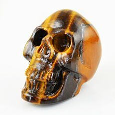 Fine golden Tiger's Eye skull - 80x65x45 mm - 332 gm