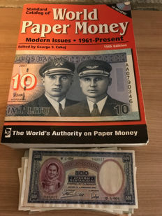 World Paper Money Catalogue plus 62 World banknotes