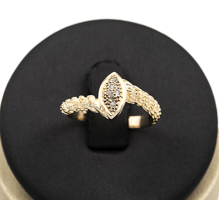18 kt yellow gold - Cocktail ring - Brilliant cut diamonds - Ring size 13 (Spain)