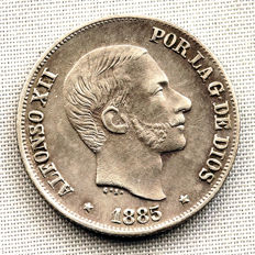 Spain – Alfonso XII – 10 peso cents in silver – 1885 – Manila