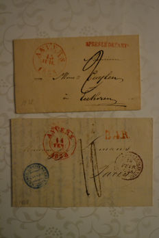 Belgium 1838 - 2 forerunners sent from Antwerp to Paris and Ekeren.