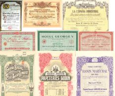 Old shares of beer, perfume, hotel, tobacco, canned, textiles, shoes, etc. (14).