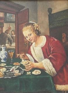 C v Roon (20th century) - Vrouw eet oesters (copy after 18th/19th-century)