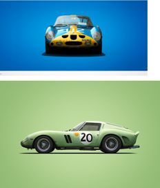 Ferrari Colors of Speed - 2 fine art prints - Ferrari 250 GTO - 24 Heures du Mans + Targa Florio - 70CM X 50CM