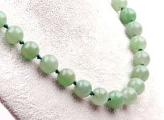 Necklace of genuine Jade/Nephrite in emerald or light apple green colour with clasp, 81 grams