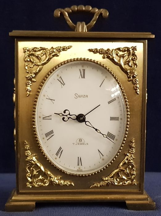 Gold plated bronze table clock - Swiza - 1960s