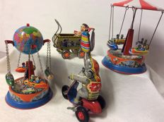 Wagner, Germany/NeKur, Turkey - Height max. 16 cm - Lot with 2 tin carousels, elephant on tricycle with mechanism / clockwork and dolls cart, 1980s