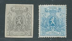 "Belgium 1866 - ""Small Lion"" - OBP 22 and 24"