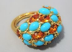 "Kenneth Jay Lane - Yellow gold plated Ring with faux turquoise & Amber Austrian Crystals ""Couture Collection"""