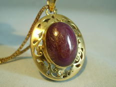 Large ruby pendant with necklace nature ruby cabochon 30 ct