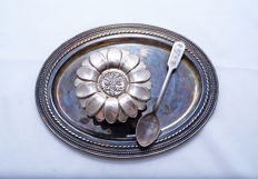 A silver honey serving dish with spoon and tray - for Rosh Ha'shana - Israel - circa 1960