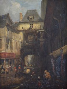 Continental school (19th century) - A continental cityscape with figures