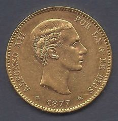 Spain - Alfonso XII - 25 pesetas - 1877 Madrif - Gold