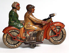 TippCo, Germany - Length 24 cm - Tin motorcycle with clockwork motor, 1930s