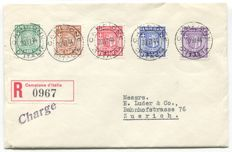 Italy, 1944 - Italy, local issues, Campione d'Italia Series 1 on FDC registered mail - Sass.  No.  1a/5a