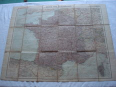"German Empire; Original vintage map, Carl Flemming's general map no. 12 ""Karte von Frankreich"" from 1914 World War 1"