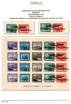 Spain – 1938 – Burgos Nationalist Emissions – Overprinted Sheets – Burgos Edifil 98-101