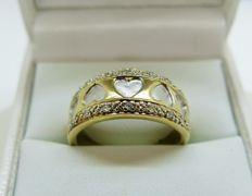 Pearl and Diamond 'Hearts' Design 9K Gold Ring. Size 55 7/8 (P) - Free Resizing