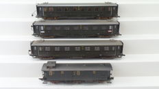 Roco H0 - 44530/44532/44541 - Four carriages of the DRG, nicely weathered, with lighting
