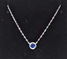 14 kt gold necklace with 0.5 ct blue sapphire, length: 46 cm