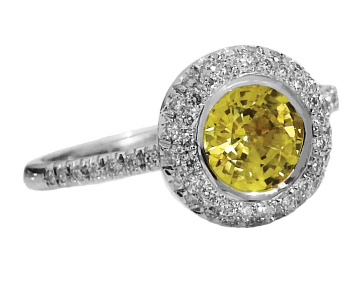 halo ring yellow sapphire surrounded with 56