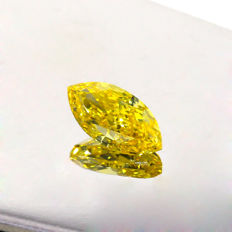 1.00 Ct. Natural Fancy Vivid Yellow VS2 Marquise Shape Modified Brilliant Diamond, GIA certified