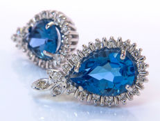 Topaz & Diamonds cocktail earrings - No Reserve!