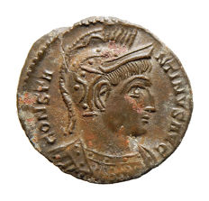 Roman Empire - Constantine I (307 - 337 A.D.) bronze follis (2,40 g, 19 mm) from Treveris mint. BEATA TRANQVILLITAS - STR.