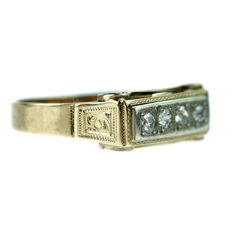14 kt gold Art Deco ring set with diamonds, approx. 0.12 ct in total