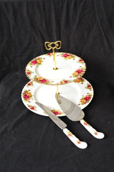 Royal Albert - Old Country Rose cake knife & cake/pie server and 2-tier cake stand