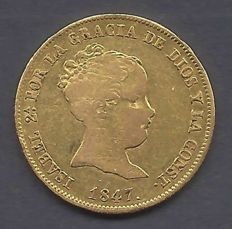 Spain - Isabel II - 80 Reales 1847 Madrid CL - Gold