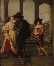 Antique French painting scena galante con suonatore from the 19th century