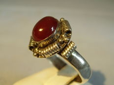 Antique ring with carnelian, handmade