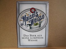 Old enamel advertising sign for Maisel's Weisse beer, origin is Germany, period 2nd half of 20th century.