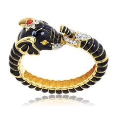 Kenneth J black enamel elephant clamper bracelet