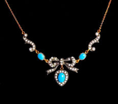 Victorian necklace with pendant with 56 seedbeads and 3 turquoises made fo 375 / 9kt gold and 925 silver, circa 1850