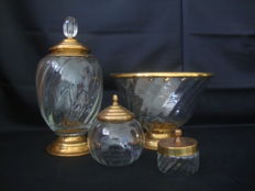4 Glass Containers With brass covers and mounts, England, late 20th century