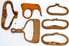 Very Fine selection of 6 Medieval iron fire starters  - 55-75 mm / 200 grams (6)