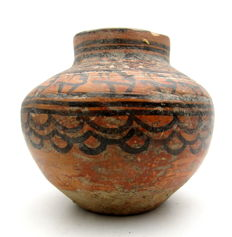 Indus Valley Painted Terracotta Jar depicting Deer -  120x110 mm