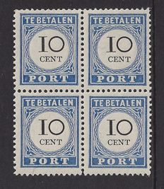 The Netherlands 1894 - Postage due stamp type III - NVPH 22a in block of 4