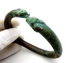Ancient Bracelet Decorated with Dragon/Snake Head Terminals - 67mm