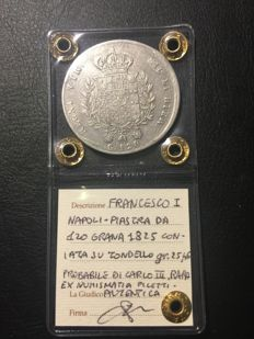 Kingdom of the Two Sicilies – Piastra of 120 grana coin from 1825, Francesco I, struck from a reused bar – Silver