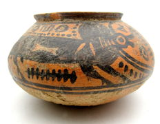 Indus Valley Painted Terracotta jar with Bull Motif - 132 x 80mm